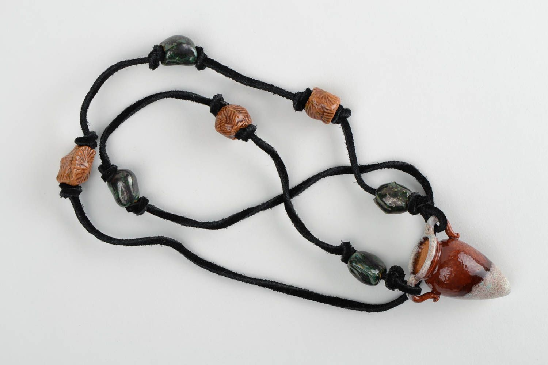 Handmade pendant ceramic pendant deisgner accessory unusual gift for girl photo 3