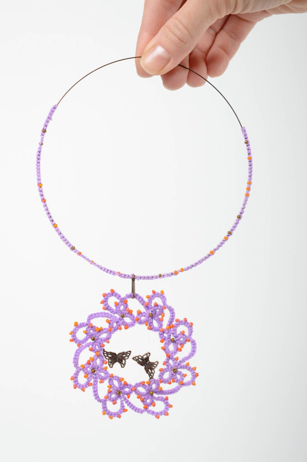 Textile tatting necklace photo 5