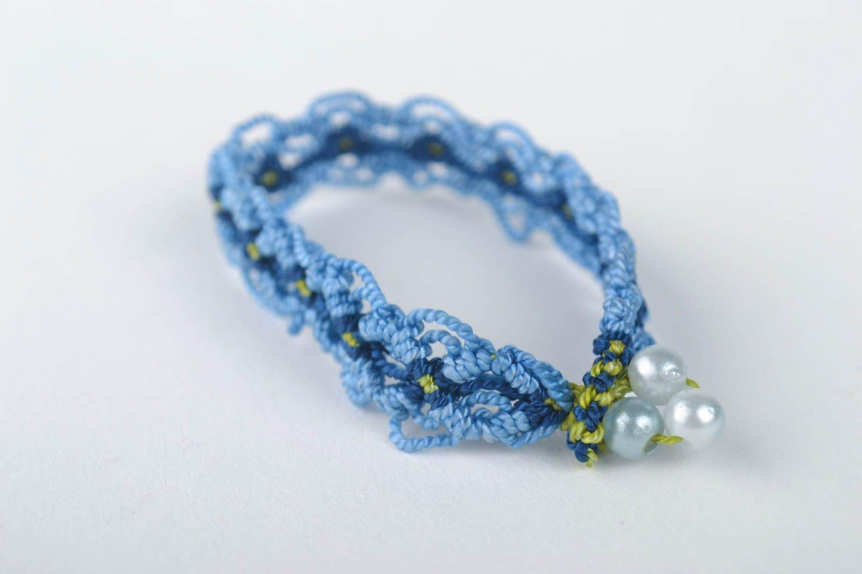 Модный браслет ручной работы браслет на руку дизайнерское украшение синий фото 3