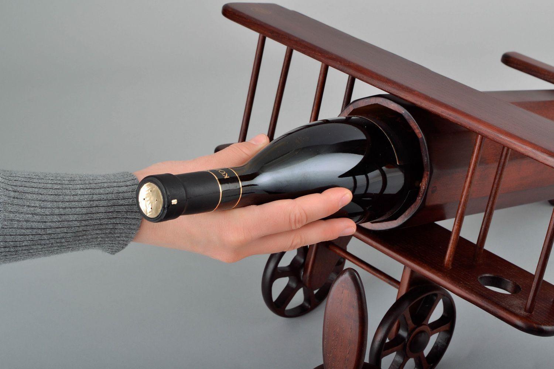 Wooden wine bottle stand Plane photo 5