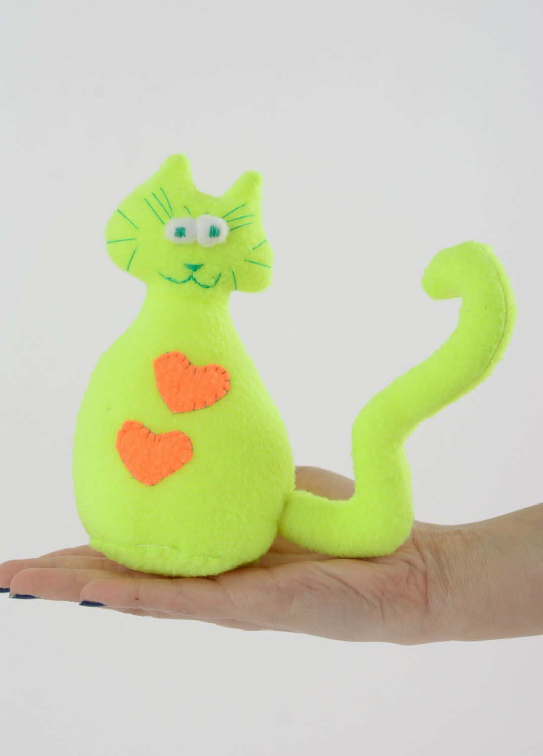 Soft toy in the shape of a yellow and green cat photo 4