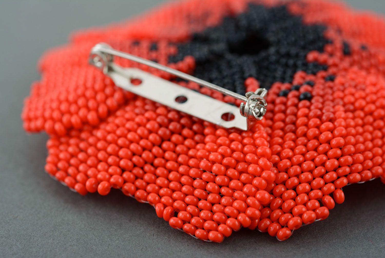 Beaded brooch Poppy photo 3
