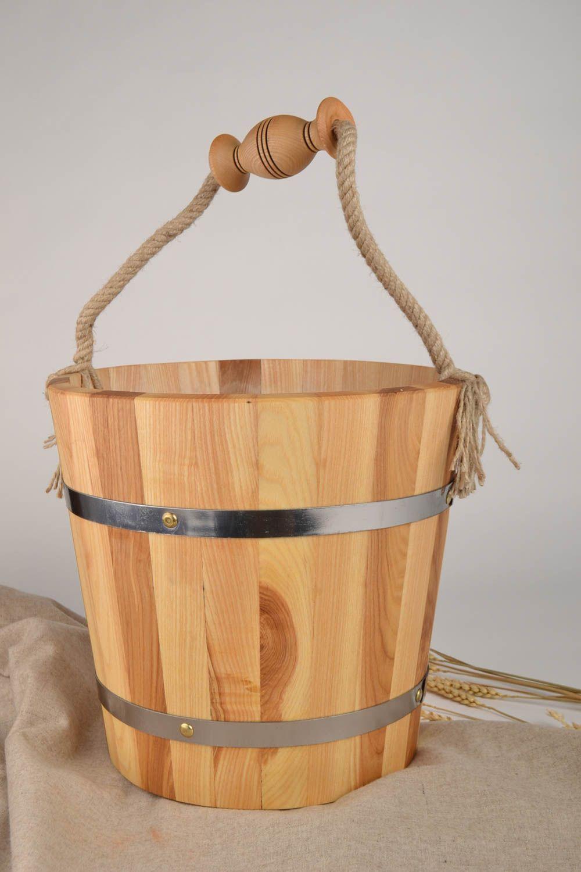Handmade bucket made of wood sauna accessories sauna bucket present for men photo 2