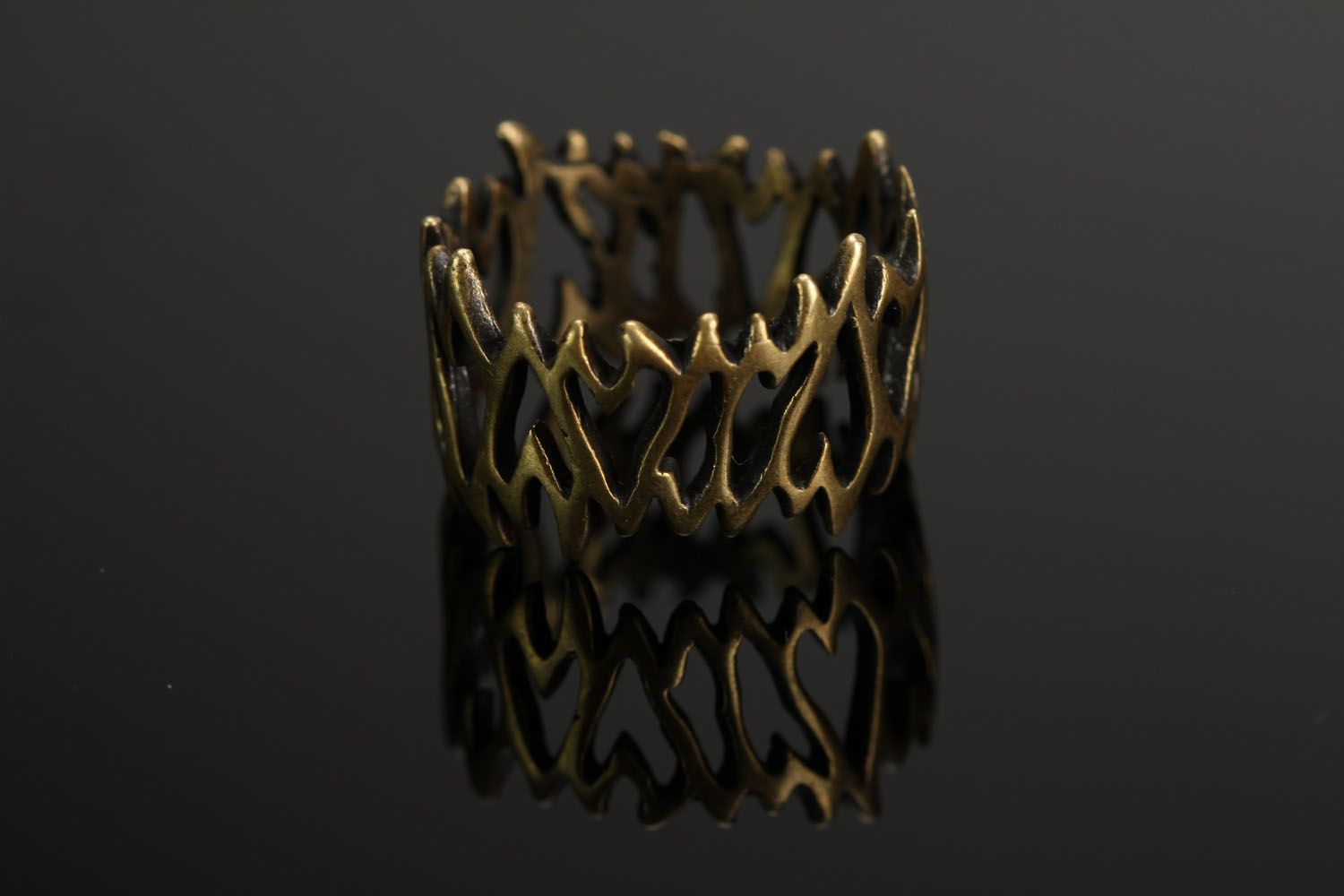 Bronze seal ring Lattice photo 1