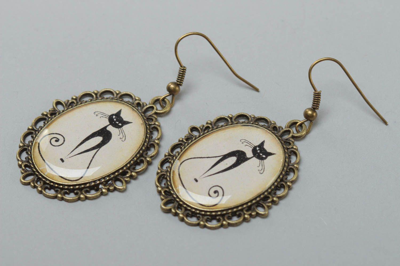 Vintage Ohrringe aus Glasur oval stilvoll handgemacht mit Katzenmuster  foto 2
