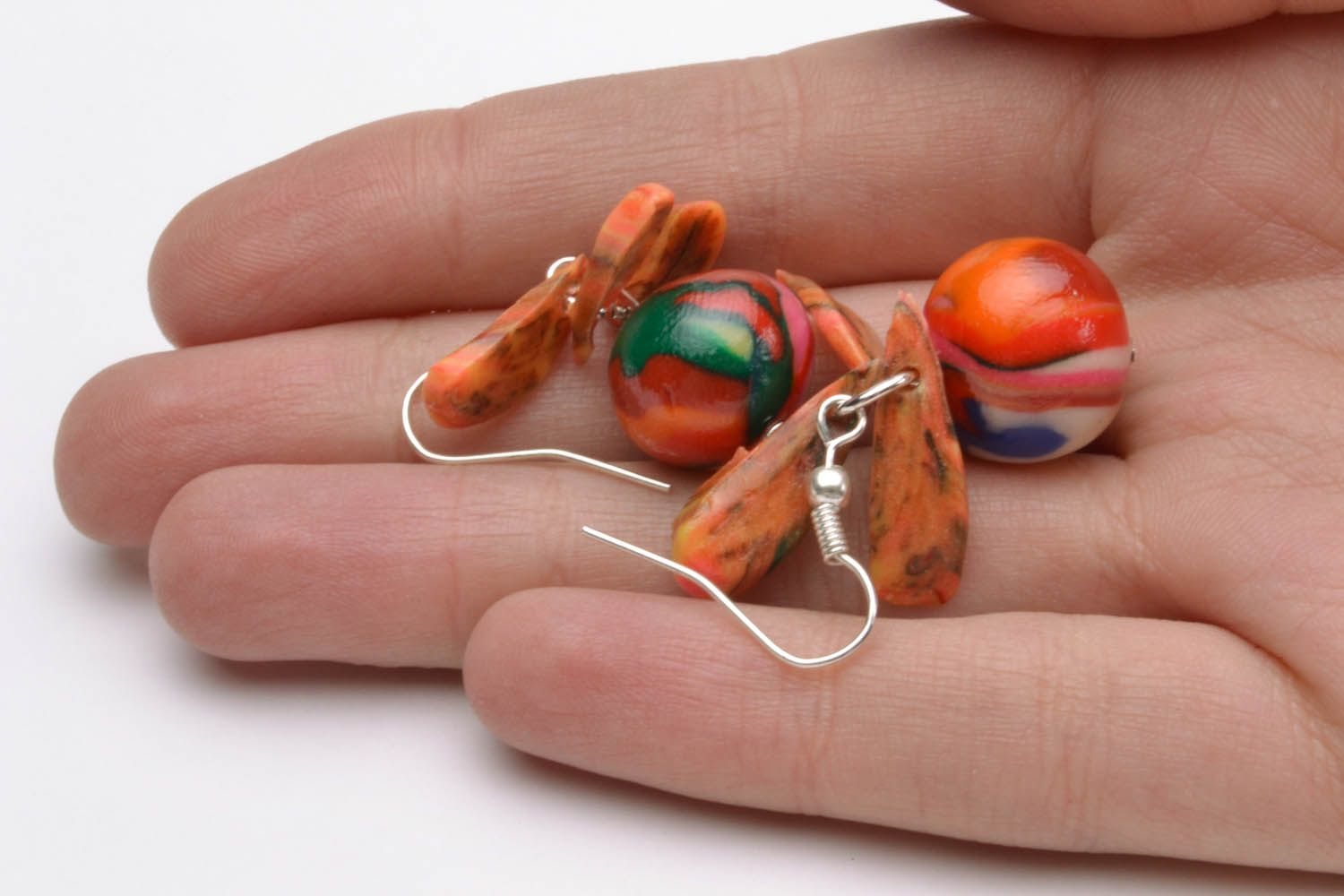 Colourful earrings with charms photo 5