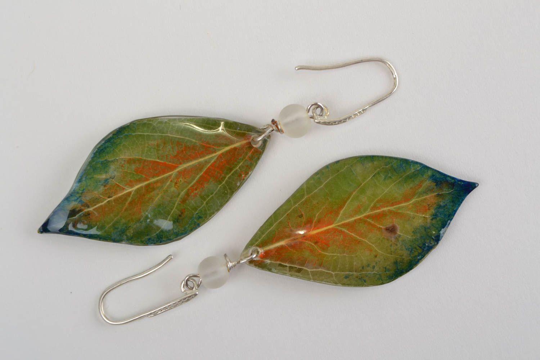 Handmade earrings glass earrings epoxy jewelry unusual gift leaf accessories photo 3