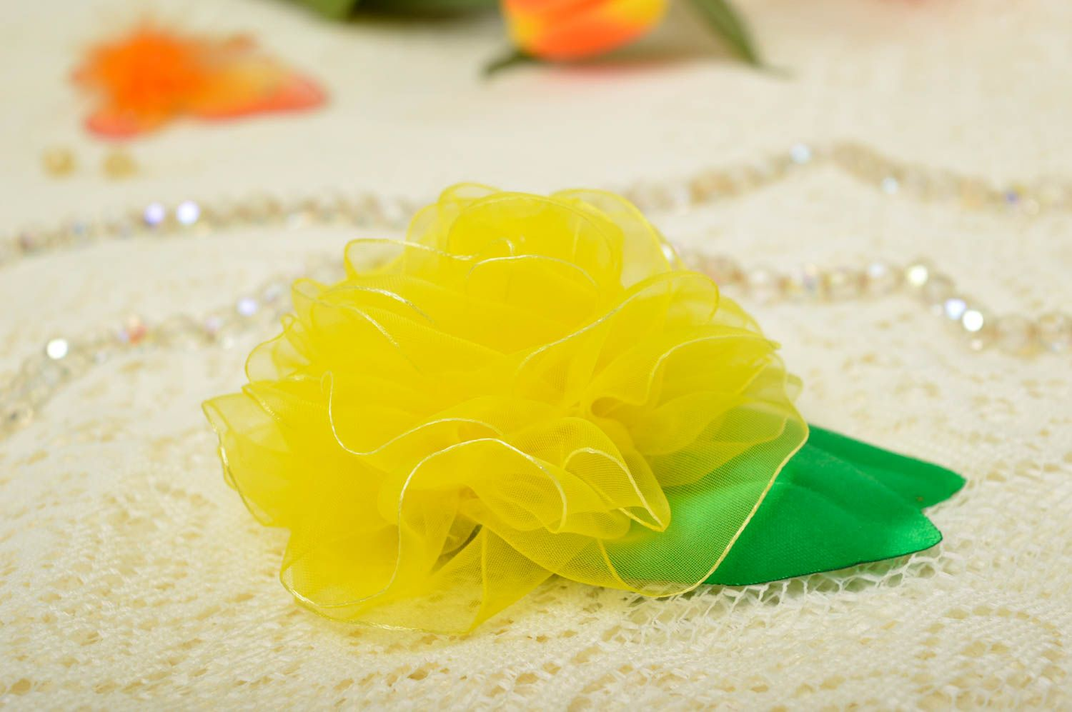 Bright handmade fabric flower brooch textile brooch jewelry costume jewelry photo 1