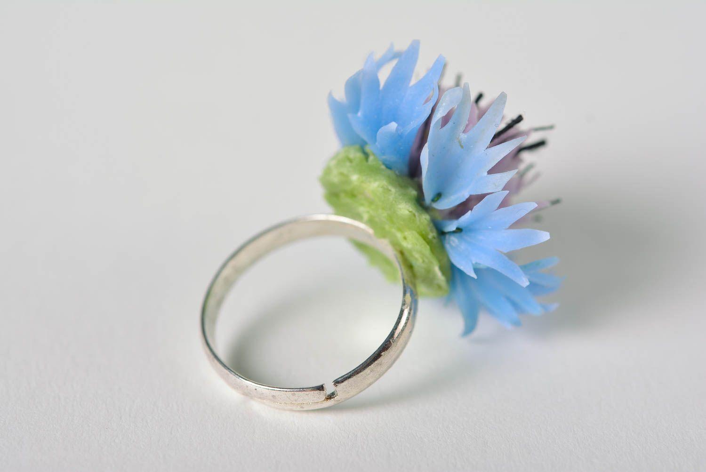 Beautiful handmade designer polymer clay flower ring for girl photo 3