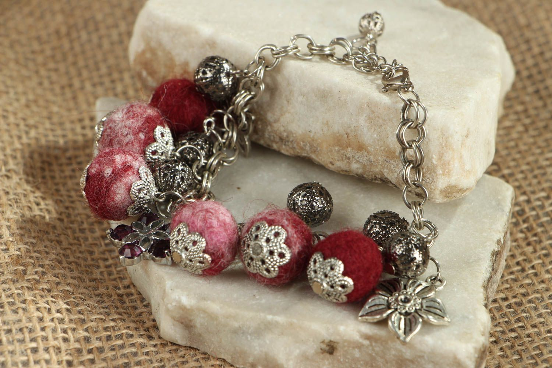 Felted wool bracelet Garnet Mood photo 5