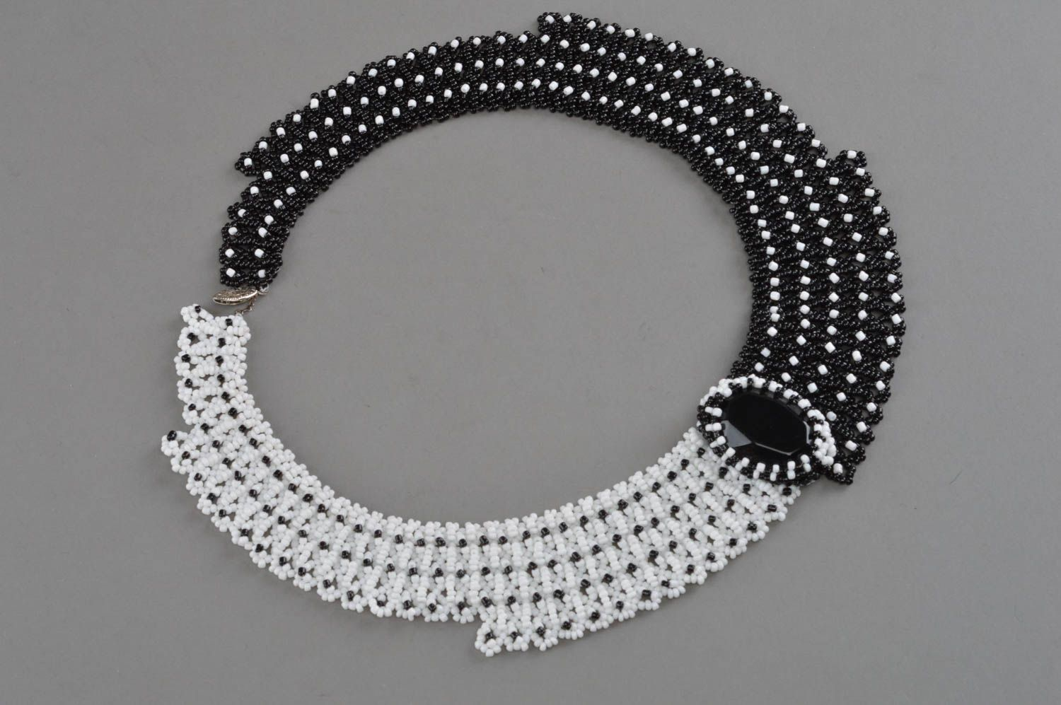 Black and white beaded necklace handmade accessory evening jewelry for women photo 3