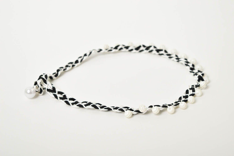 Handmade beaded necklace black and white thread necklace stylish jewelry  photo 5