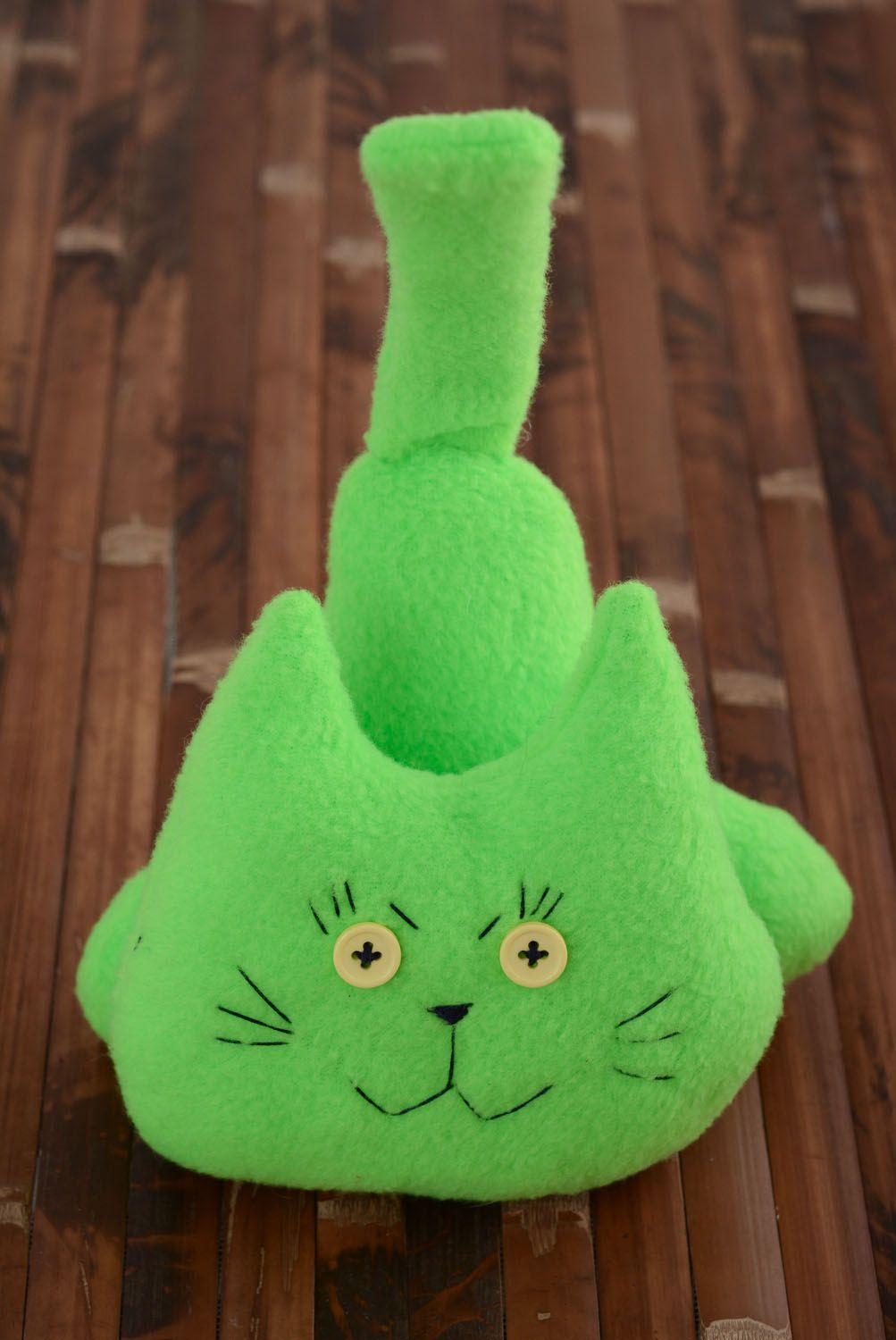 Soft toy in the shape of a green cat photo 5