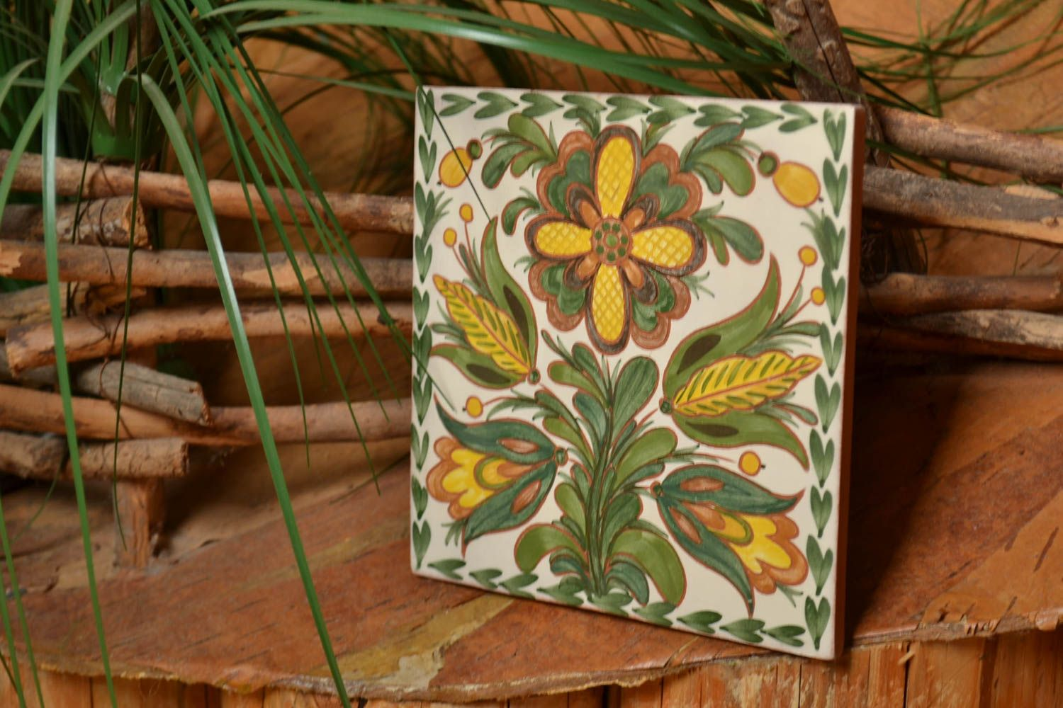decorative handmade tiles Handmade designer ceramic facing panel with green and yellow floral ornament  - MADEheart.com
