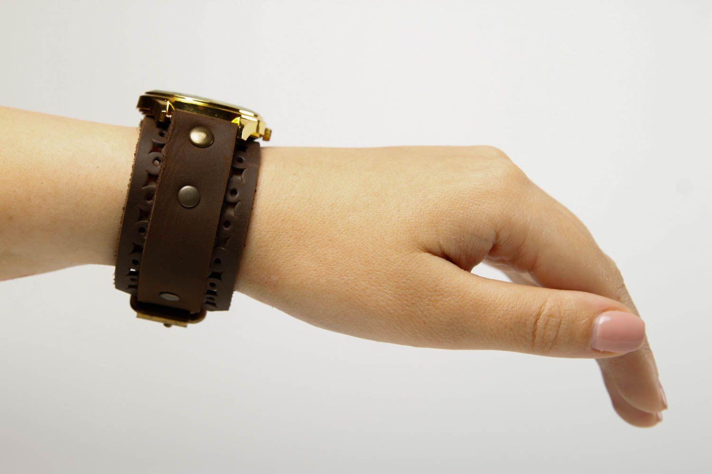Handmade leather bracelet stylish watch on wristlets unusual designer jewelry photo 2