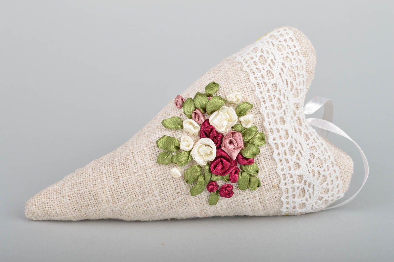 Unusual handmade designer linen fabric interior hanging sachet pillow with aroma photo 2