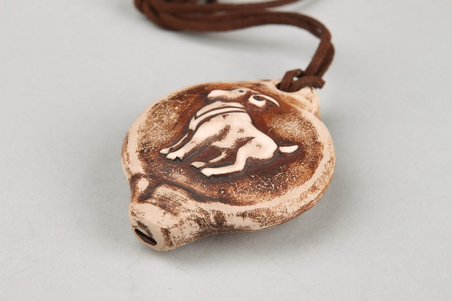 Tin whistle pendant made of clay Aries photo 2