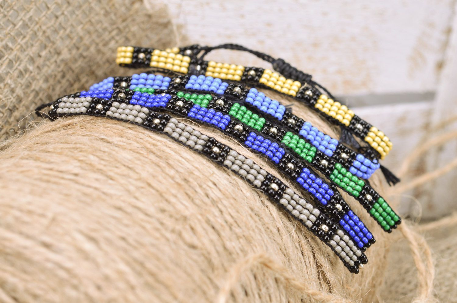 textile bracelets Set of bright handmade men's woven bead wrist bracelets with ties 5 pieces - MADEheart.com
