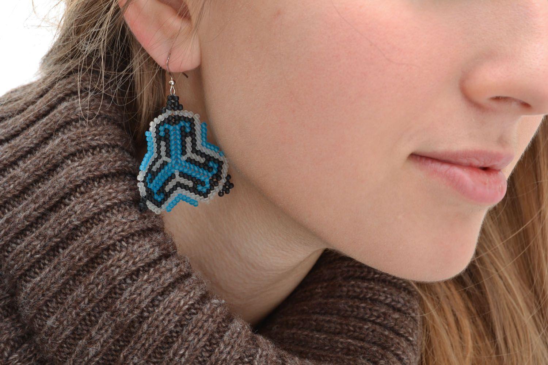 Unusual beaded earrings Geometry photo 5