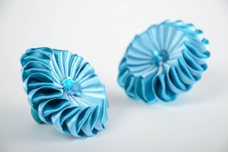 Set of 2 handmade children's blue satin ribbon flower hair ties kanzashi photo 4