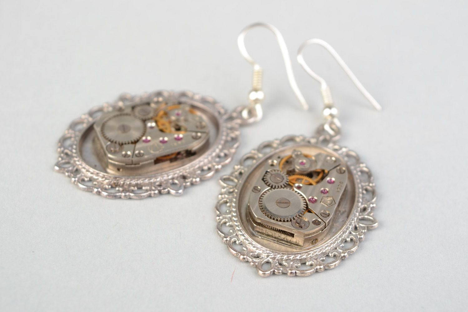 steampunk earrings Handmade designer steampunk earrings with lace metal basis and clock mechanism - MADEheart.com