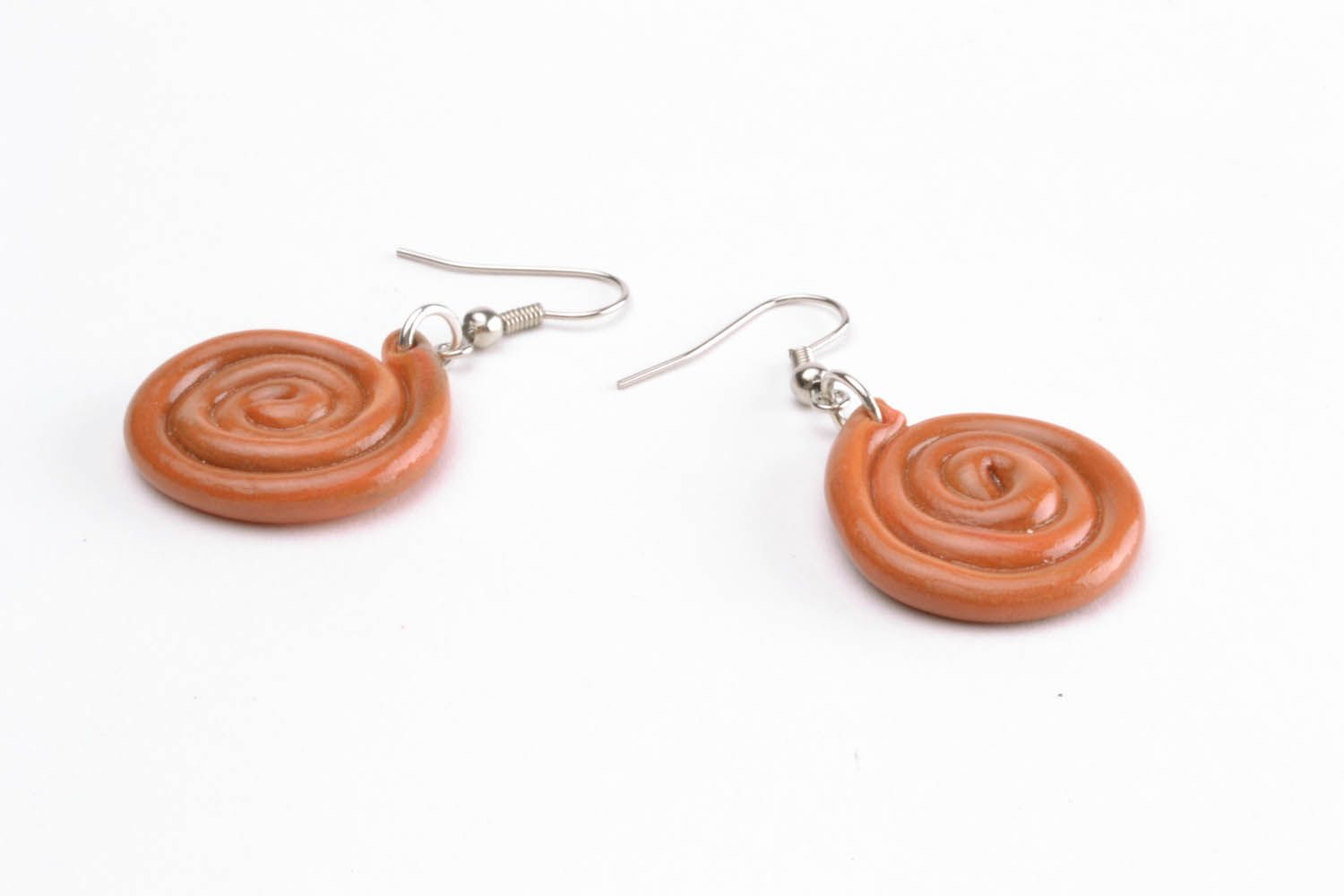 Polymer clay earrings Spiral photo 4