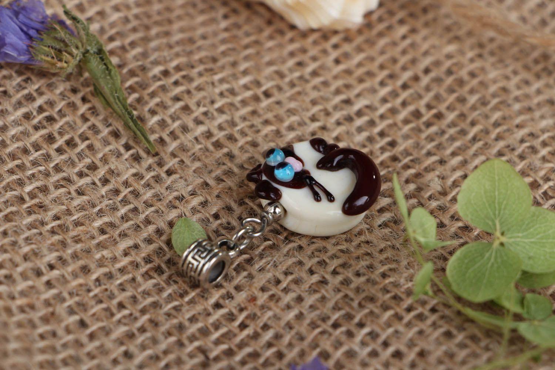 Handmade glass pendant Siamese Cat photo 3