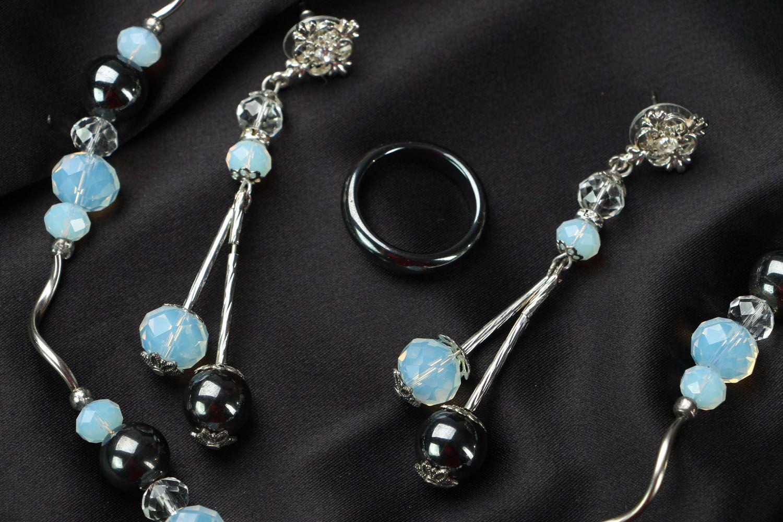 Jewelry set with hematite and moonstone photo 3