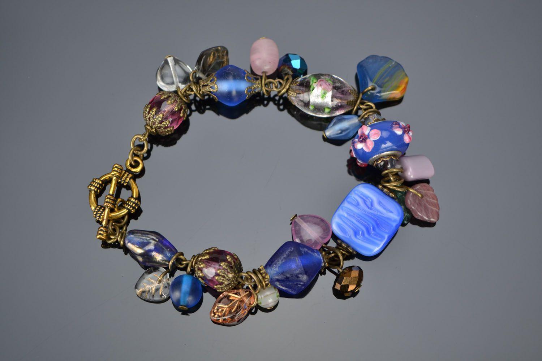 Metal and Czech glass bracelet photo 2