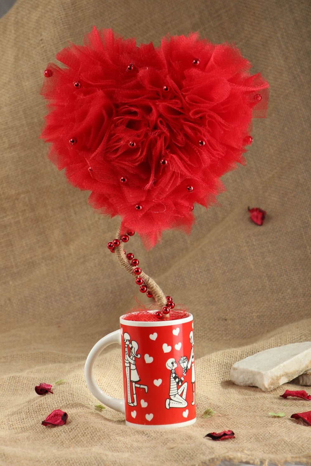 Heart shaped tulle topiary photo 5