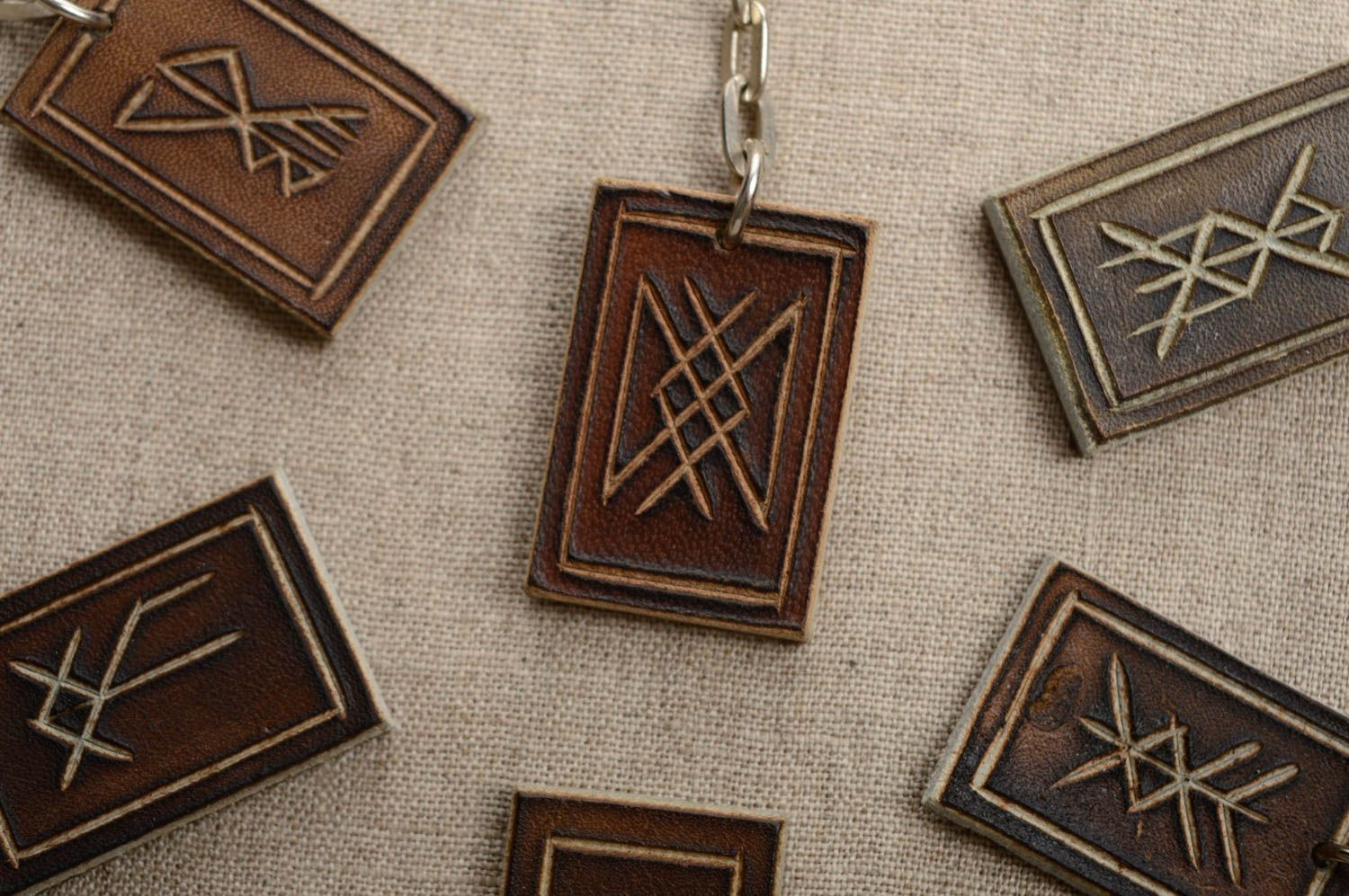 Leather keychain with runes for longevity photo 2