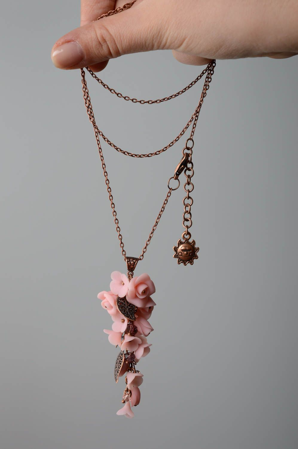 Polymer clay pendant Tender Flowers photo 4