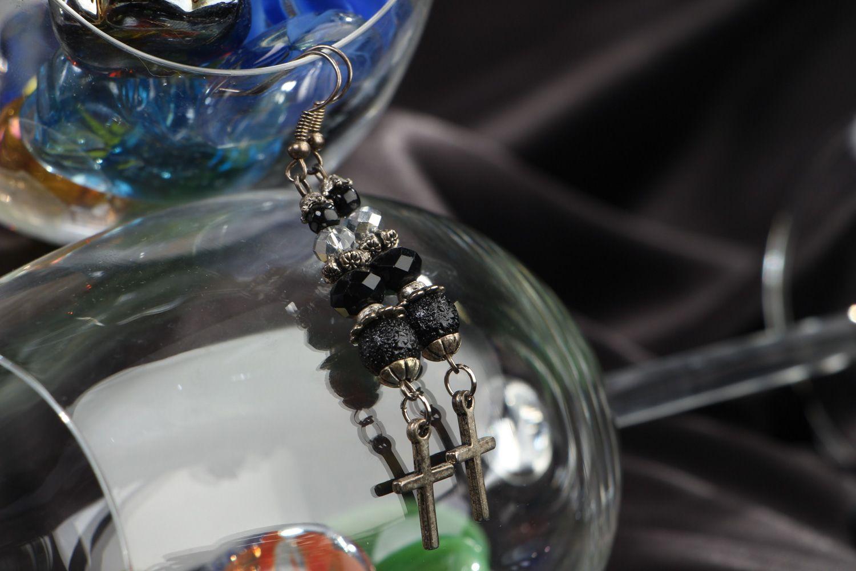Handmade long earrings with black glass beads and cross-shaped metal charms  photo 4