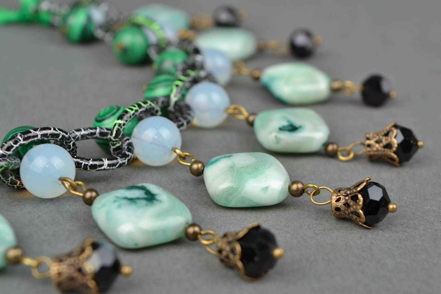 Necklace with natural stone Spring photo 3