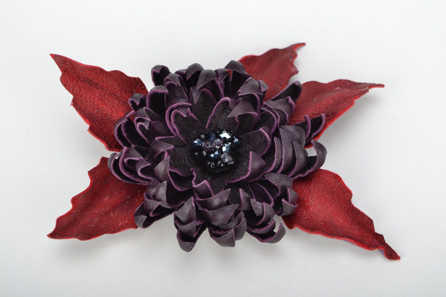 Leather brooch Aster photo 1
