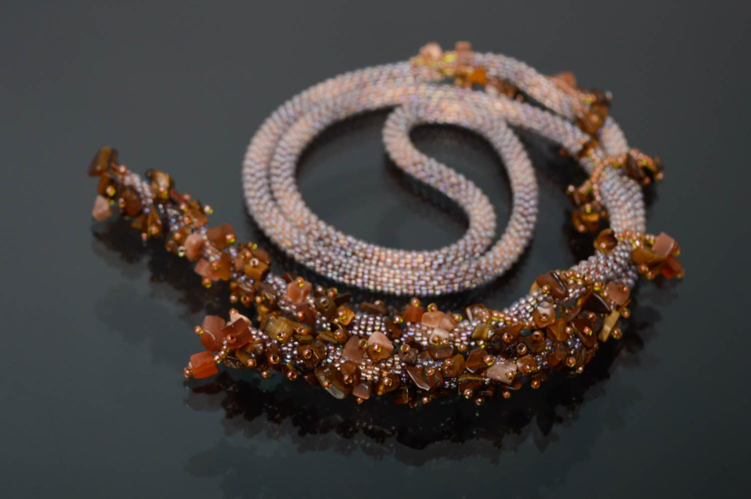 Beaded lariat necklace with tiger's eye stone photo 1