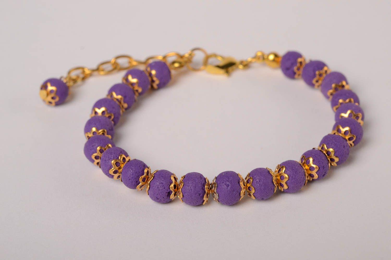 7cd0c1356718 pulseras de arcilla polimérica Pulsera artesanal de fimo morada accesorio  para mujer bisutería de moda -