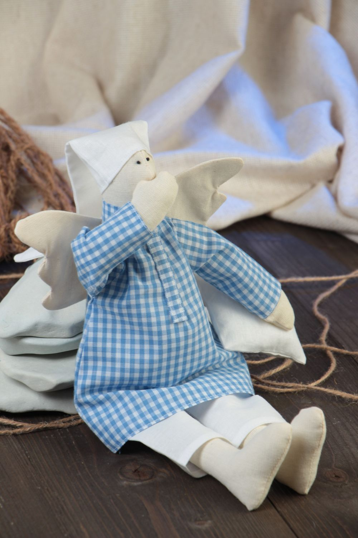 Handmade designer fabric soft doll sleepy angel in blue checkered night shirt photo 1