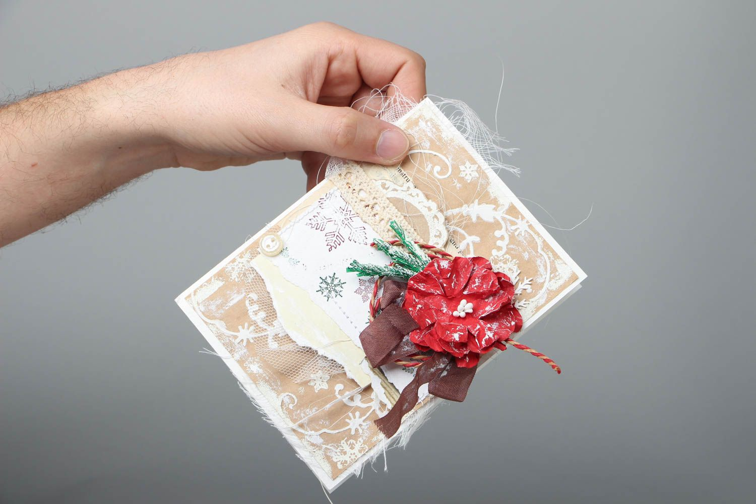 Christmas greeting card with flower photo 4