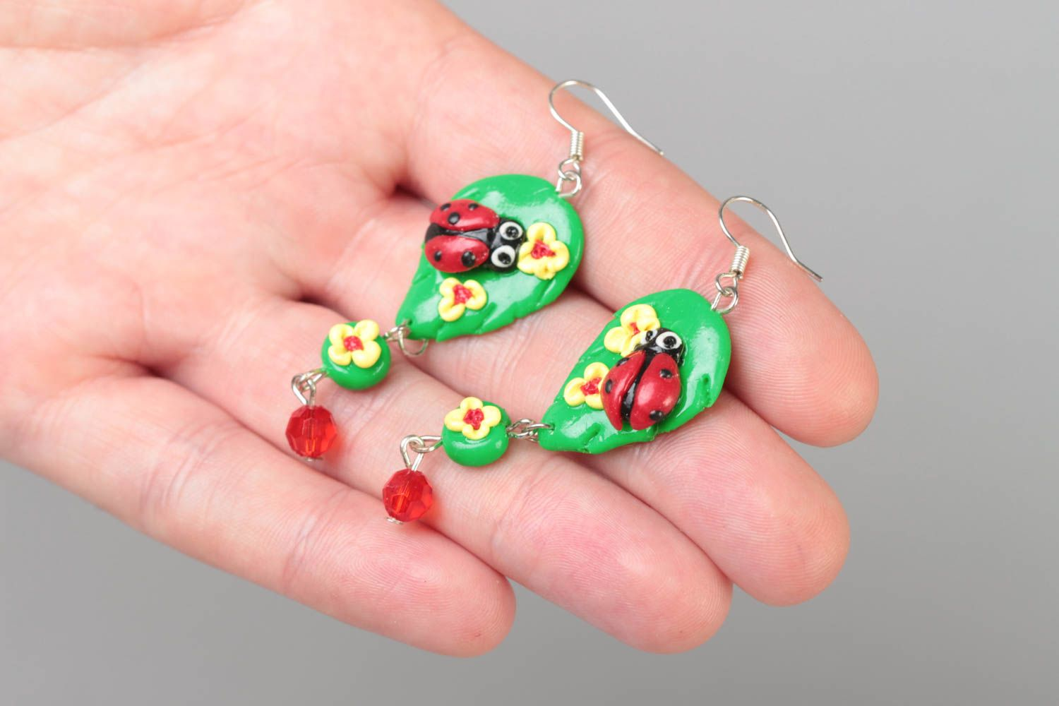 Handmade bright green long dangling polymer clay earrings with ladybugs photo 5