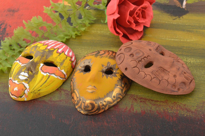 Set of 3 homemade designer ceramic fridge magnets carnival masks photo 1
