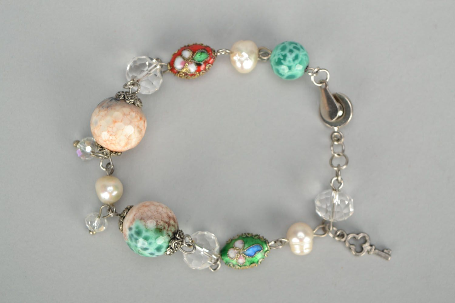 Bracelet with agate and river pearls photo 3