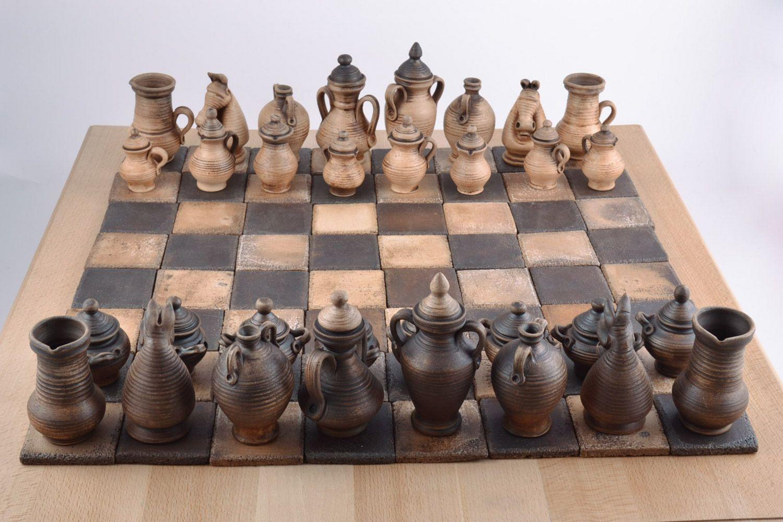 Авторские керамические фигурки для шахмат коллекционные ручной работы на подарок фото 1