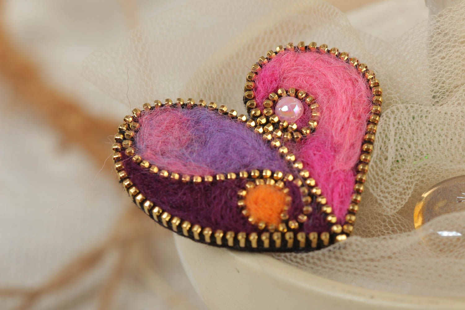 Bright brooch with zipper decor made of felted wool Heart present for girl photo 1