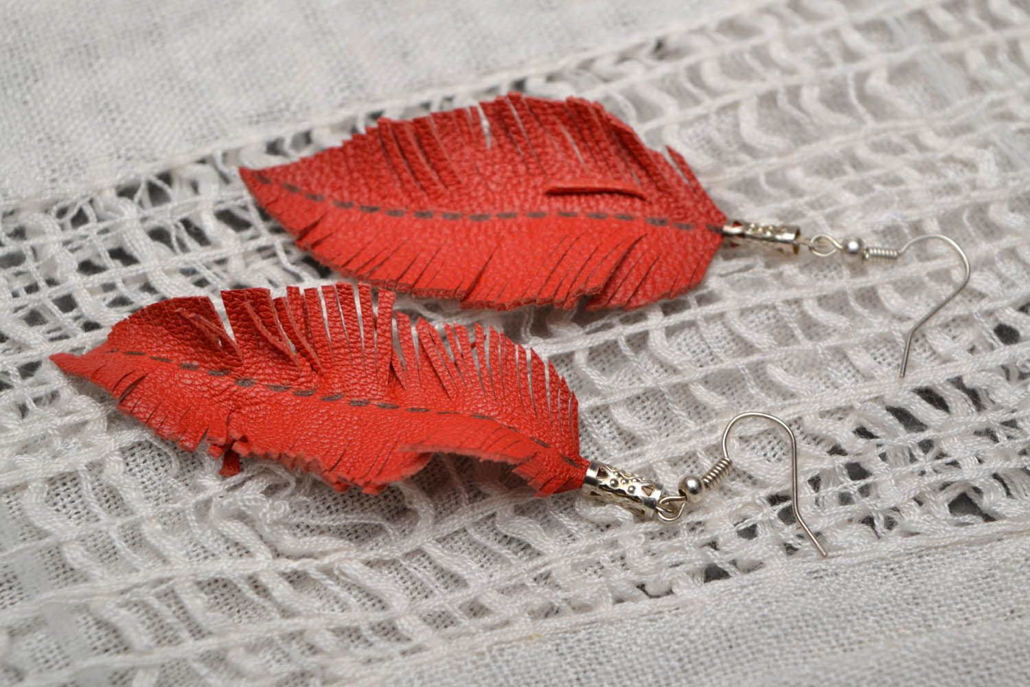 Leather earrings Leaves photo 1