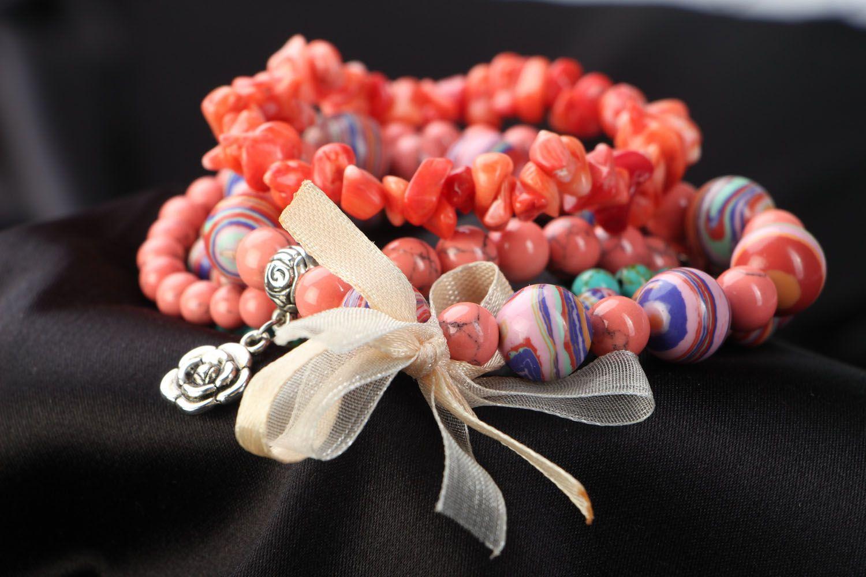 Комплект браслетов из 5 штук коралловый фото 3