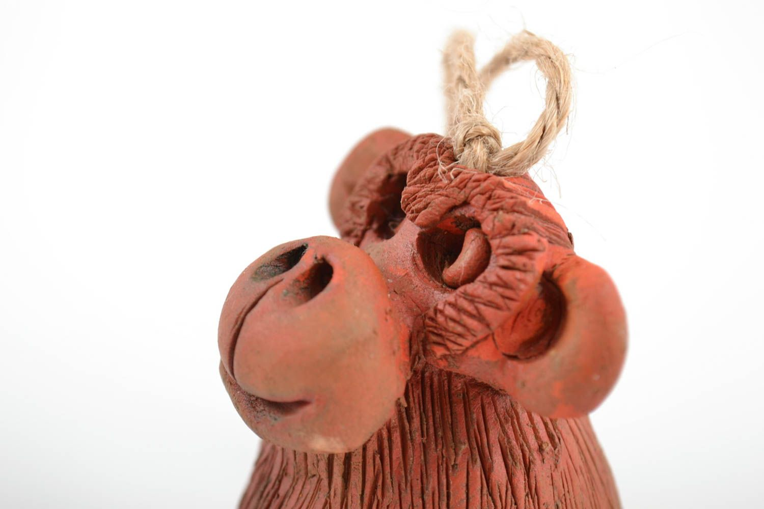 Handmade interior brown bell made of red clay decorative home statuette  photo 5