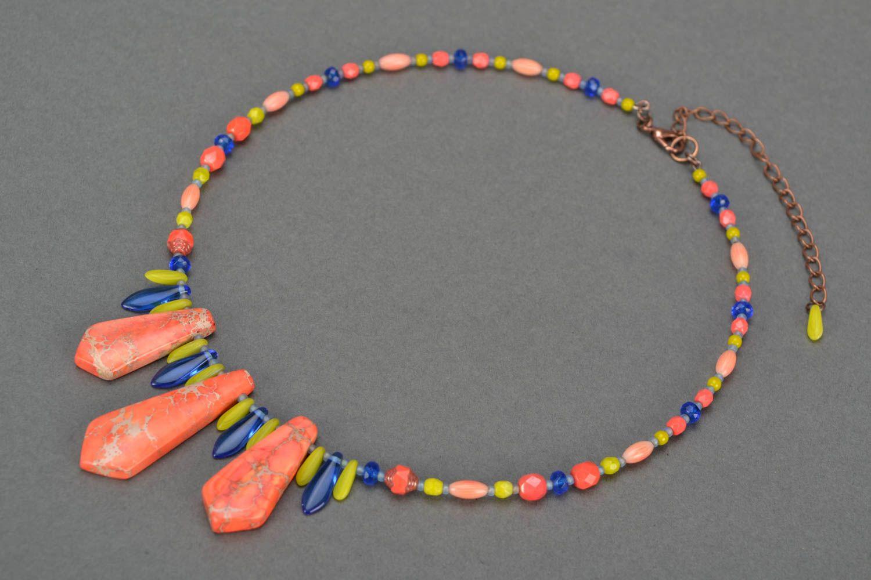 Handmade designer Czech glass necklace with variscite for summer photo 1