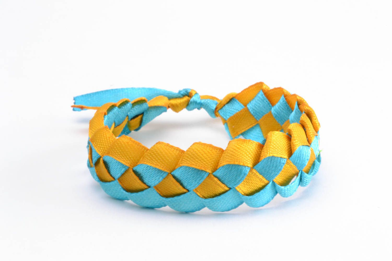 Bracelet made of colourful ribbons  photo 4