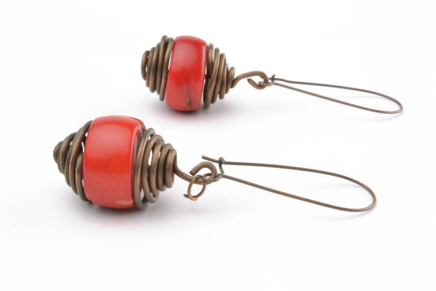 Copper earrings with coral  photo 1